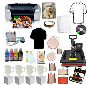 8in1 Pro Sublimation Heat Transfer Press epson Printer C88 Ciss Ink T shirts mug