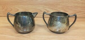 Vintage Silver On Copper Creamer Sugar Containers F B Rogers Taunton Mass