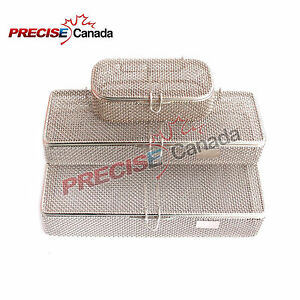 Set Of 3 Sterilization Cassette Perforated Mesh Box Dental Instrument