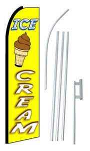Ice Cream Yellow Extra Wide Swooper Flag Bundle