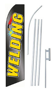 Welding Black Yellow Extra Wide Swooper Flag Bundle