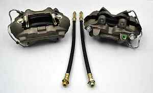 64 65 66 Ford Mustang Front 4 Piston Disc Brake Calipers And Brake Hoses New