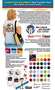4 Yards Siser Easyweed Heat Transfer Vinyl mix And Match Your Favorite Colors