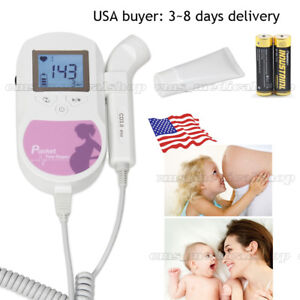 Pocket Fetal Heart Doppler backlight Lcd 3mhz Fda Proved gel battery Included
