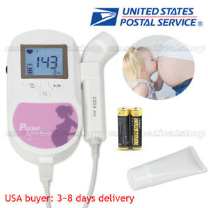 Ce fda Approved Backlight Lcd 3mhz Fetal Heart Doppler battery gel Home Used