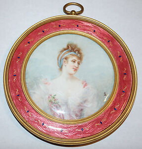 French Pink Guilloche Enamel Gilt Bronze Frame Painted Plaque Of Lady 1880s