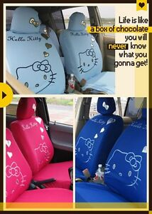 New 10 Pcs Universal Hello Kitty Car Seat Covers Front Rear Cover Accessory Sets