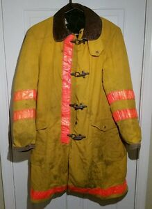 Globe Firefighter Turnout Jacket Size 38 Very Worn Yellow Made In Usa