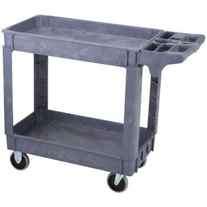 30 X 16 Two shelf Polypropylene Industrial Service Rolling Utility Cart 500 Lb