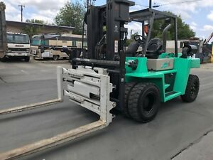 Mitsubishi Fd70e Heavy Duty Forklift 15 000 Lbs Capacity Rotary clamping Fork