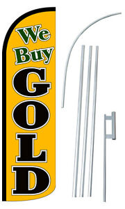 We Buy Gold Flag Kit 3 Wide Windless Swooper Feather Advertising Sign