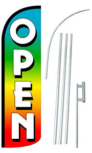 Open Multi Flag Kit 3 Wide Windless Swooper Feather Advertising Sign