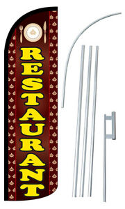 Restaurant Flag Kit 3 Wide Windless Swooper Feather Advertising Sign