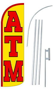 Atm Flag Kit 3 Wide Windless Swooper Feather Advertising Sign
