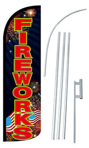 Fireworks Flag Kit 3 Wide Windless Swooper Feather Advertising Sign