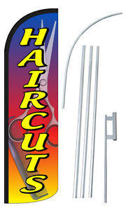Haircuts Flag Kit 3 Wide Windless Swooper Feather Advertising Sign