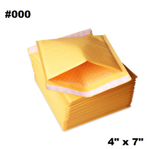 500pcs 000 4x8 Golden Kraft Bubble Padded Shipping Envelope Mailers Bag
