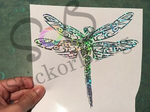 Dragonfly Tribal Silver Glitter Holographic Vinyl Decal Sticker Car Window