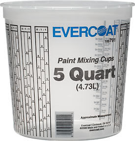 5 Quart Paint Mixing Cups Fibre Glass evercoat 791 Fib