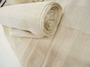 Vtg Antique Organic French Hemp Fabric Bolt European Upholstery Linen 1 Yd