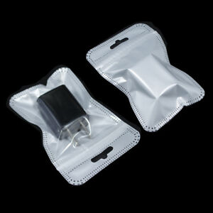Zip Lock White Clear Plastic Packaging Retail Bags Reclosable Hang Hole Pouches