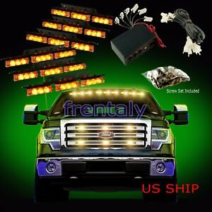54 Led Car Truck Strobe Emergency Warning Light For Deck Dash Grill Amber