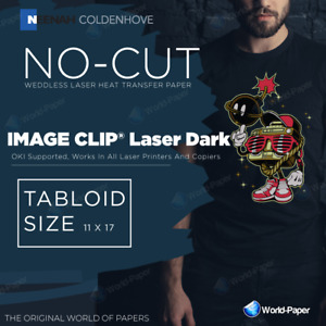 Weedless No Cut Heat Transfer Paper Image Clip Laser Dark 11x17 100 Sheets
