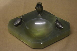 Antique Onyx Change Key Dish Holder With Brass Or Bronze Figures Of Birds
