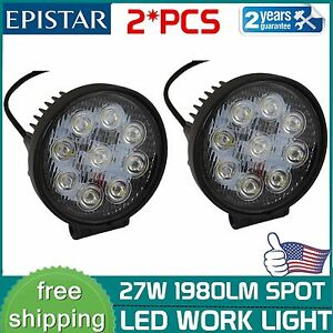 2x 27w 4inch Round Spot Led Work Light Offroad Fog Driving Suv Atv Truck 4wd
