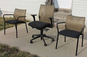 Steelcase Jersey Mesh Back Professional Office Desk Chair Two Guest Chairs Euc