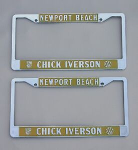 Vw Chick Iverson Dealer License Plate Frames Set Of 2 Newport Beach California