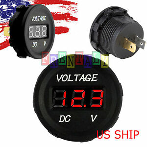 Red Led Digital Waterproof Voltmeter Gauge Meter 12v 24v Car Auto Motorcycle Atv