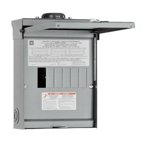 Squared Homeline 100 amp 6space 12circuit Outdoor Main breaker Panel Load center