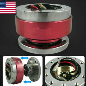 Steering Wheel Ball Quick Release Hub Adapter Snap Off Boss Kit Universal Red