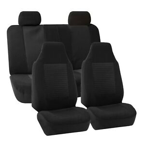 Car Seat Covers Airbag Compatible And Split Bench Solid Black 2row Set H