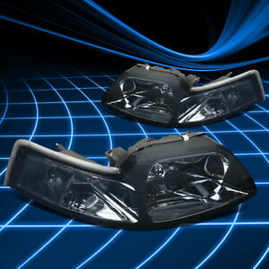 Fit Ford Mustang 99 04 Cobra Gt V8 Euro Smoked Housing Headlights Clear Corner