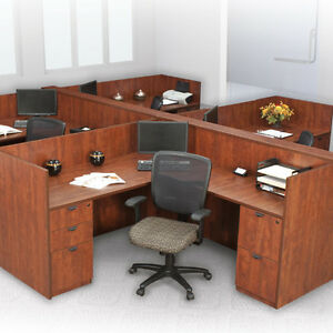 Office Workstation Cubicle Desk Station L shaped Systems Furniture Wooden Panels