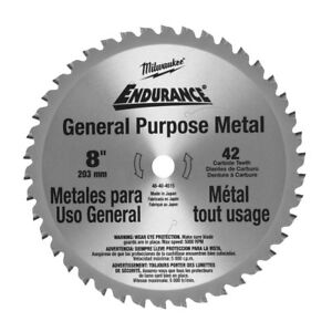 Milwaukee 48 40 4515 8 42 Tooth Cermet Tip Metal Cutting Saw Blade New