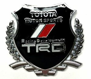 Black Trd Crest Emblem Replaces Oem Toyota Racing Development Sports Badge