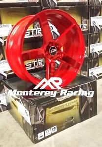 20x10 5 5x120 Str 607 Neon Red Bmw Chevy Camaro Chrysler Mid Offset