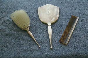 Vintage Birks Sterling Silver Ladies Vanity Dressing Set Hand Mirror Brush Comb