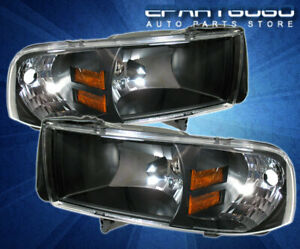 For 94 01 Dodge Ram Truck Black Amber Reflector Headlights Lamps Signal Assembly