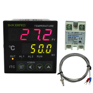 100 240vac Digital Pid Temperature Controller 25a Ssr Heat Sink K Sensor