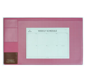 10day Shipping Basic Hot Pink Desk Pad 22x13 With Weekly Schedulers