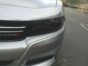 2015 2018 Dodge Charger Smoke Head Light Precut Tint Cover Smoked Overlays