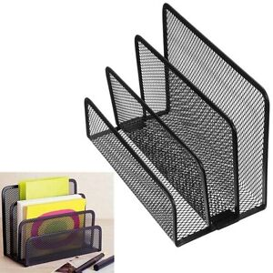 Desk Mesh 3 Section Desktop Office Organizer Letter File Notepad Holder Us Stock