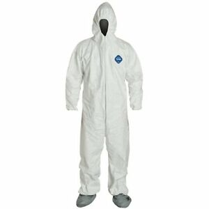 Dupont Tyvek Ty122s Coverall With Hood White Paintball pack Of 25 Size X large