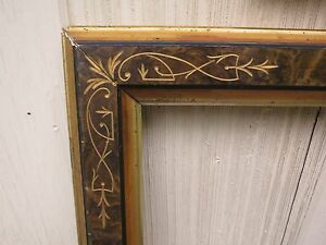C1860 Large Victorian Aesthetic Eastlake Incised Sponge Painted Gilded Frame
