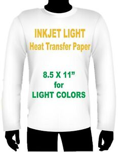 Inkjet Iron On Heat Transfer Paper Light 8 5 X 11 100 Sheet Pack