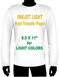 Inkjet Iron On Heat Transfer Paper Light 8 5 X 11 125 Sheets